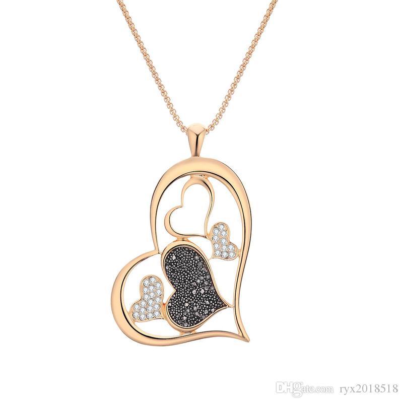 Diseñador Five Love Collares pendientes Collares en forma de corazón para las mujeres Regalos del Día de San Valentín Joyería del día de San Valentín 18 K oro plateado
