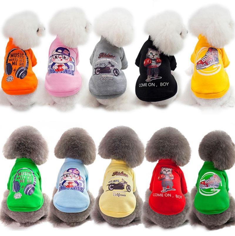 Inverno vestiti del cane del fumetto del cane stampato cappotti piccolo cane caldi Jackets Cute Puppy Outerwears Pet Supplies 6 colori YW1742