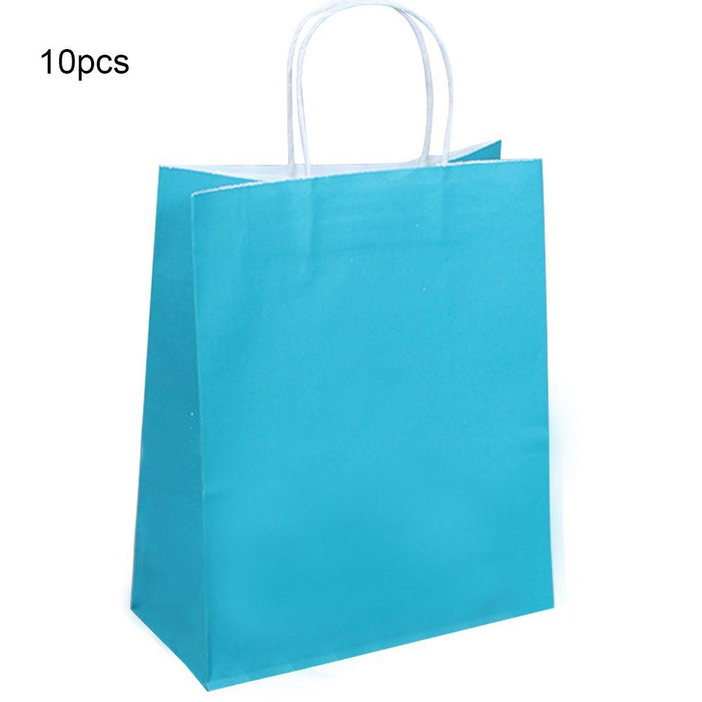 10pcs Recyclable polyvalent sac de rangement Réceptions papier Stand Up léger et pliable cadeau avec poignées d'anniversaire solide