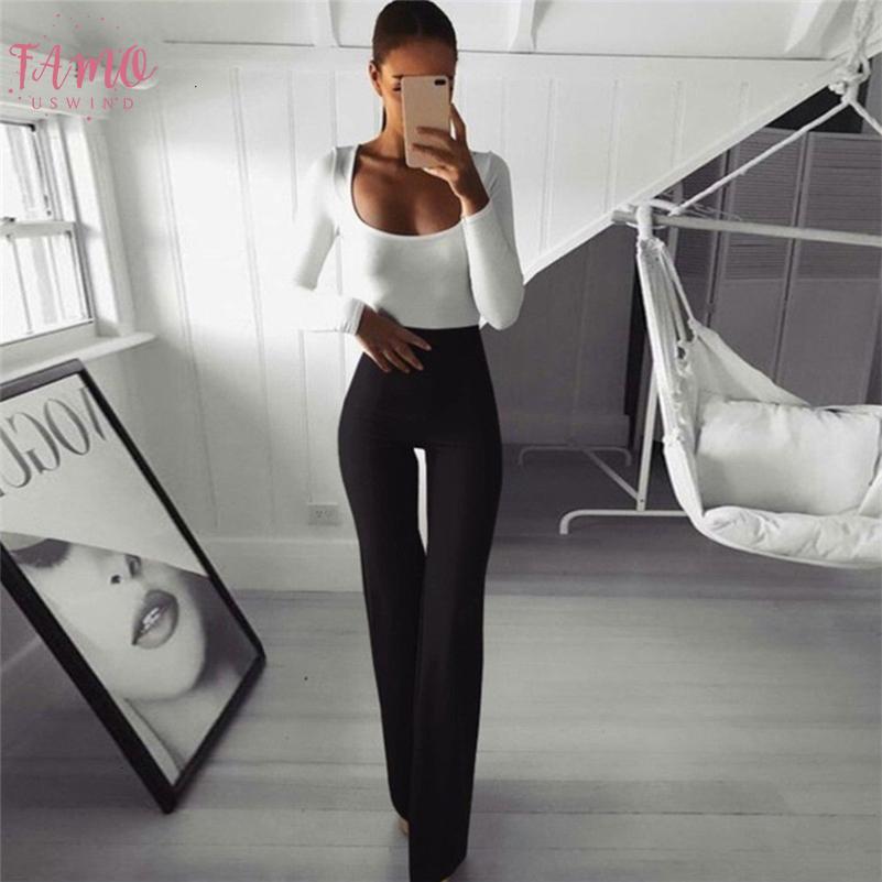 Bureau des femmes Lady travail Polyester longues Flare Pantalon taille haute solide femme Pantalon 2020 Printemps Slim élégant Pantalons female formelles