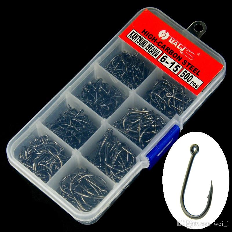 500pcs / 1box SZ-003 Boucle bleue Ise en acier au crochet noir avec crochet en acier à haute teneur en carbone avec trou, hameçons à crochet, hameçons, hameçons 6 # -15 #