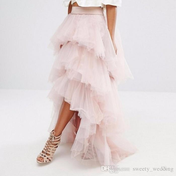 Gorgeous Light Pink Tulle Skirt Layered Tiered Puffy Women Tutu Skirts Cheap Formal Cocktail Party Gowns High Low Long Skirts Custom Made