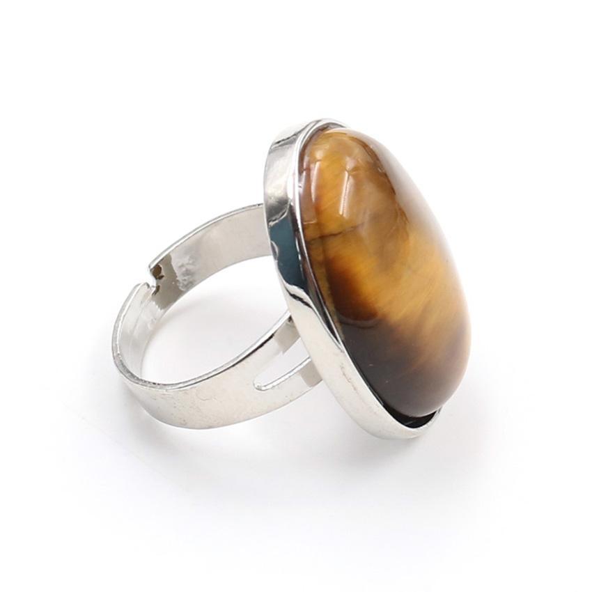 Toptan 10 Adet Gümüş Kaplama Oval Şekil Kaplan Gözü Taşı Resizable Parmak Yüzük Lapis Lazuli Moda Takı
