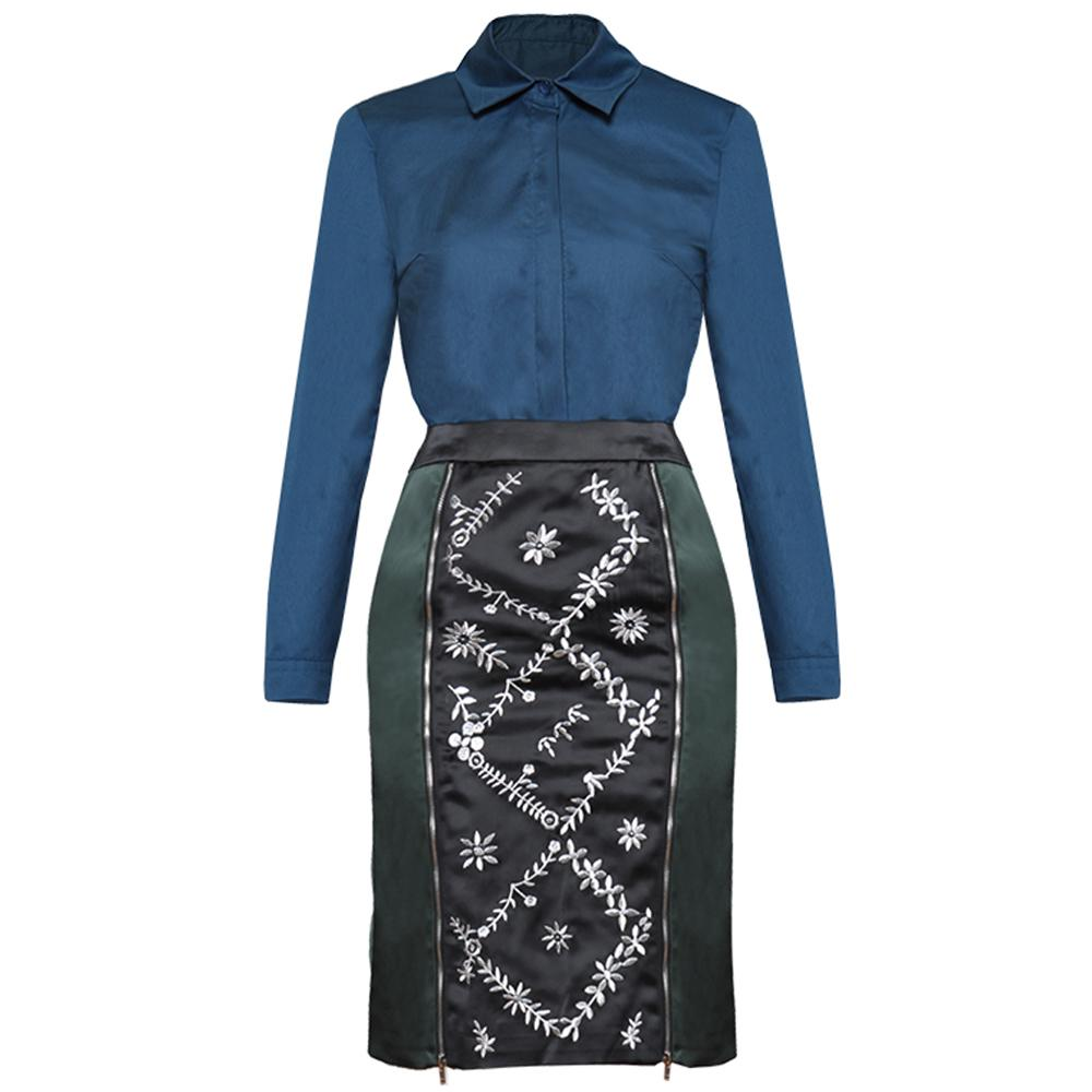 wholesale 2019 Spring Summer Runway Office Lady Turn-down Collar Shirt Tops Embroidery Mini Skirt Two Piece Set Blouse Suit