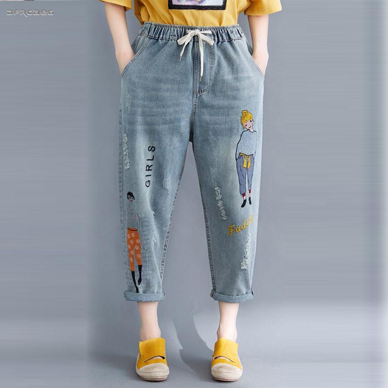 3XL 4XL плюс размер мультфильм вышивка бойфренд джинсы Женские летние 2019 мода уличная свободные джинсовые Жан шаровары Femme T200424