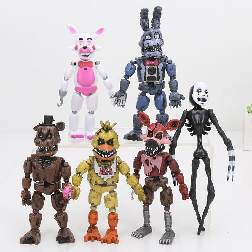 6pcs/set Led Lightening Movable Joints Fnaf Five Nights At Freddy's Action Figure Toys Foxy Freddy Chica Model Dolls Kid Toys Y19062901