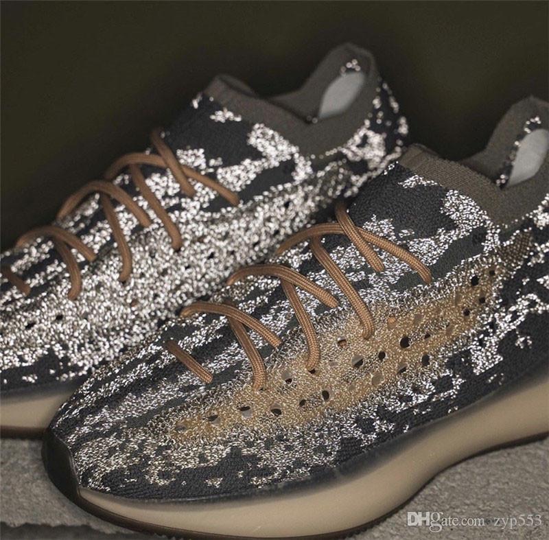 2020 Hottest Аутентичные Originals 380 Mist Светоотражающие 3M Чужеродные Primeknit Kanye West кроссовки Мужчины Женщины Спорт кроссовки с оригинальным Box