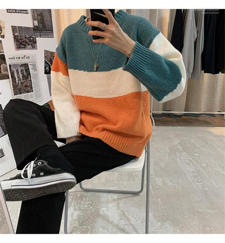 Casual Erkek Gevşek Kazak Süveter Moda Genç Erkek Triko Tasarımcı Renkli Çizgili Uzun Kollu Kniter Tops