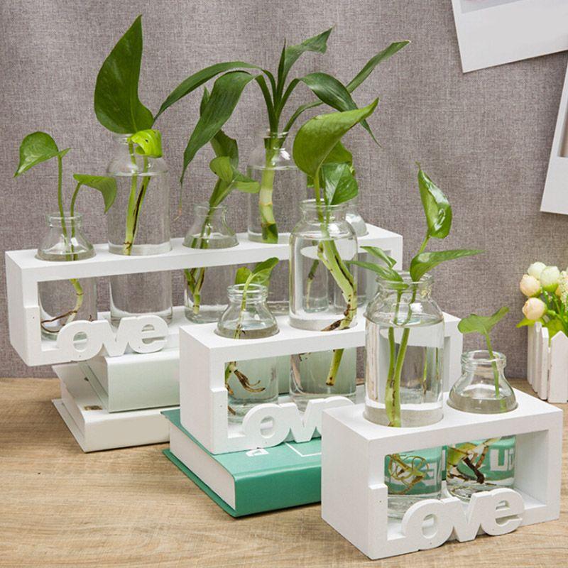 1pcs Creative Wooden Stand Glass Terrarium Container Hydroponics Planter Flower Pot Tabletop Vase DIY Home Office Wedding Decor