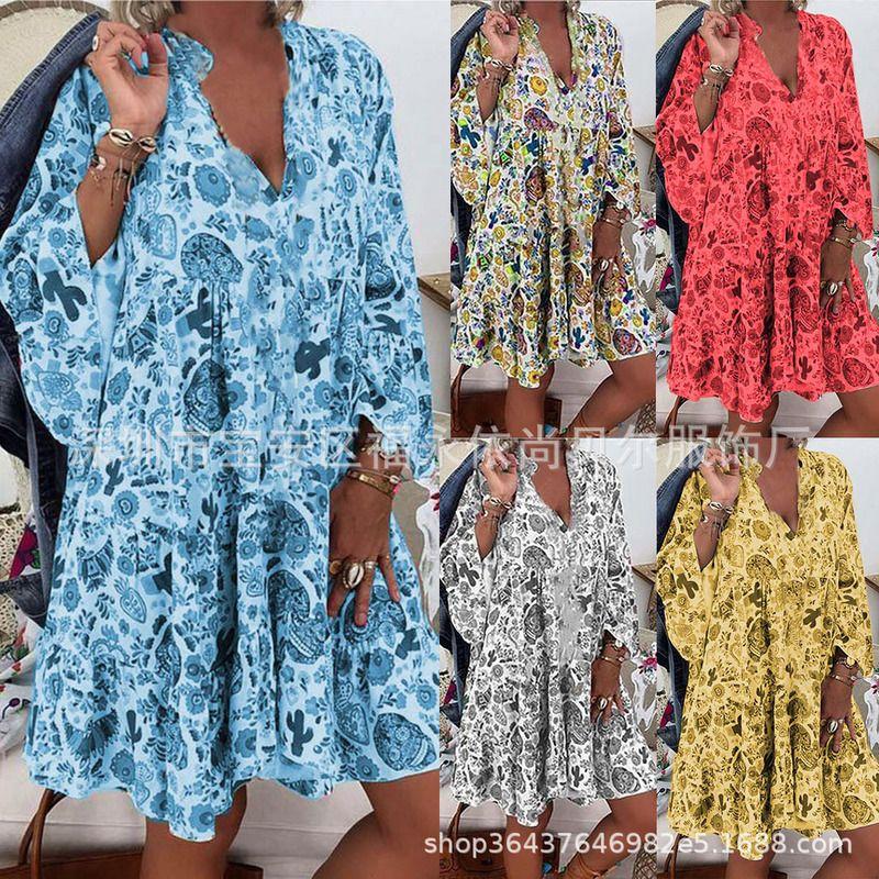 Sıcak Satış Kadın Casual Plus Size Kadın Baskılı Yaka Düğme Fırfırlı Elbise