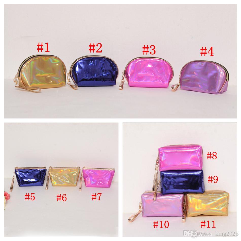 Bolsa de cosméticos con láser caliente Bolsas de maquillaje a prueba de agua Bolso con monedero de piel de diamante con destello de láser 11 colores.