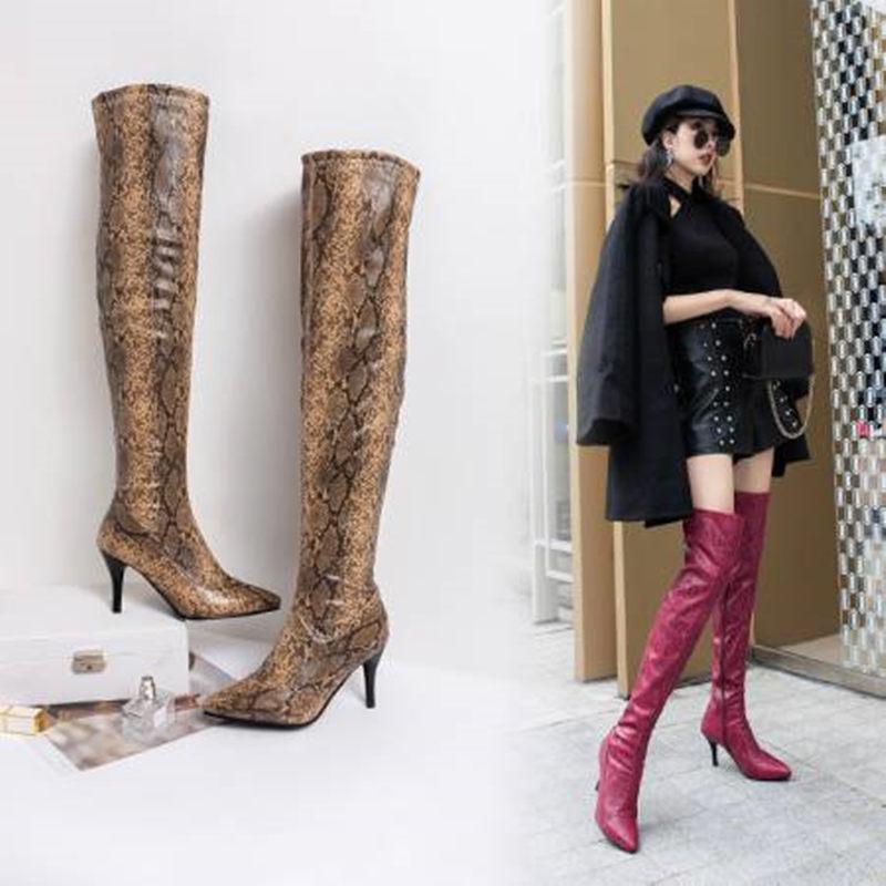 Hot Sale-Daiwenjie Европа и Америка большой размер белые змеиные заостренные сапоги на высоком каблуке сапоги длинные бедра
