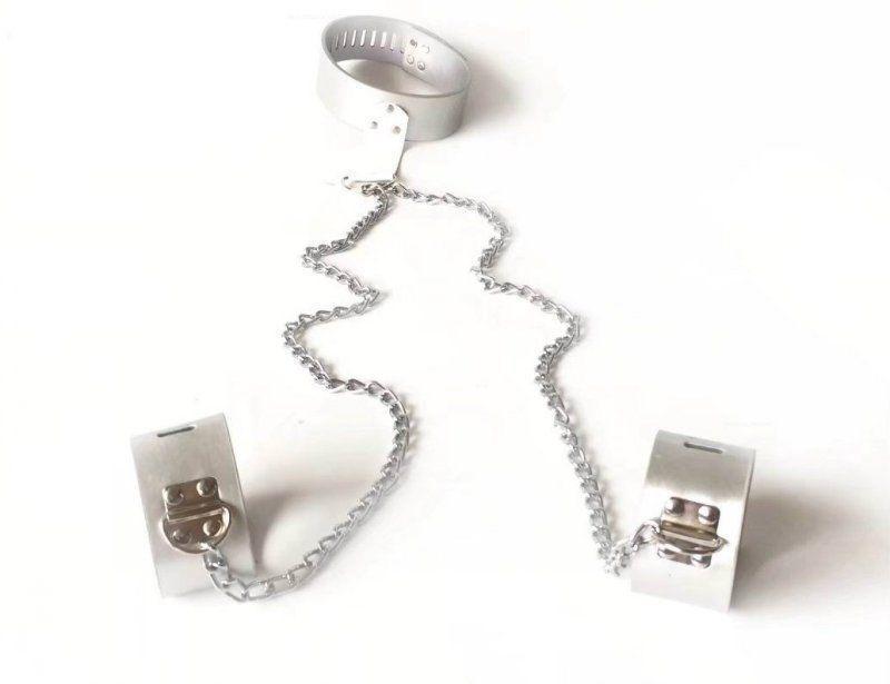 Couro de pulso de bondage Alto colar de colar de arnês conjunto de arnês # R45 Qualidade restringir GGTrq