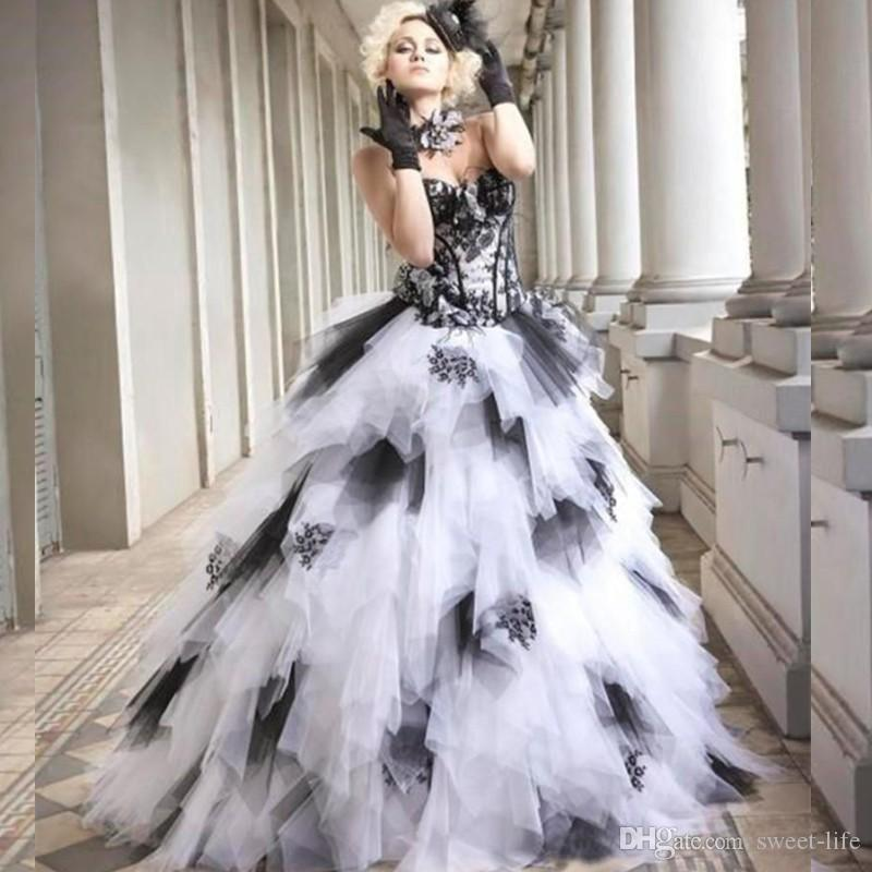 2020 Vintage Gothic Black and White Wedding Dresses Ball Gown Sweetheart Corset Back Tulle Skirt Lace Colorful Plus Size Bridal Gowns