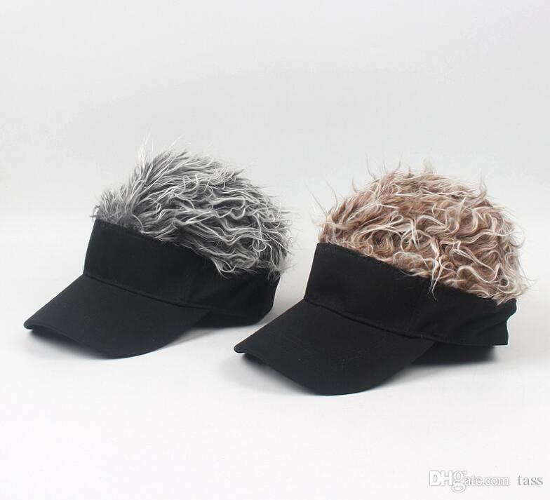 Fake Hair Wig design Caps Men's Women's Toupee Funny Hair Baseball Sun Visor Hats Unisex Cool Gifts 50pcs