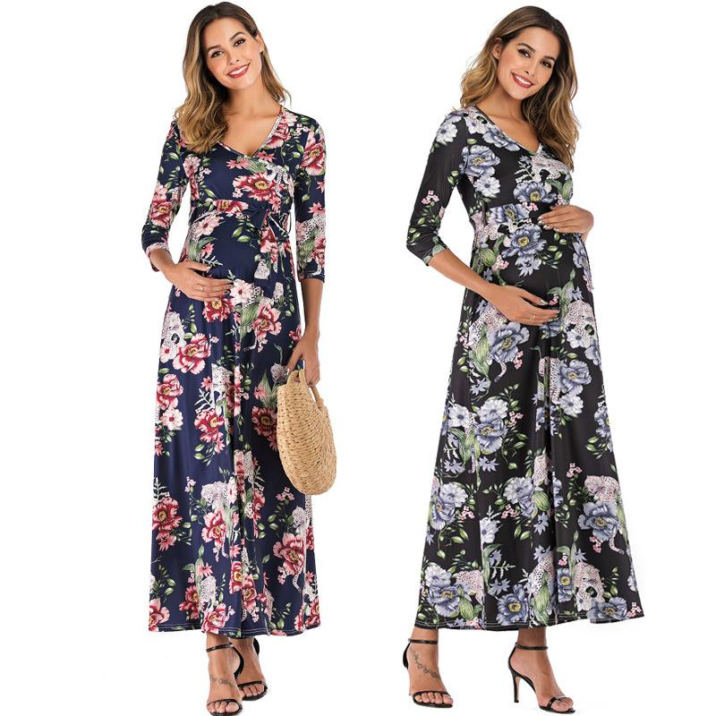 2021 2020 Boho Style Women Pregnant Mother Maternity Nursing Floral Breastfeeding Summer Long Dress Beach Clothes For Pregnant Women From Toyshome 34 21 Dhgate Com