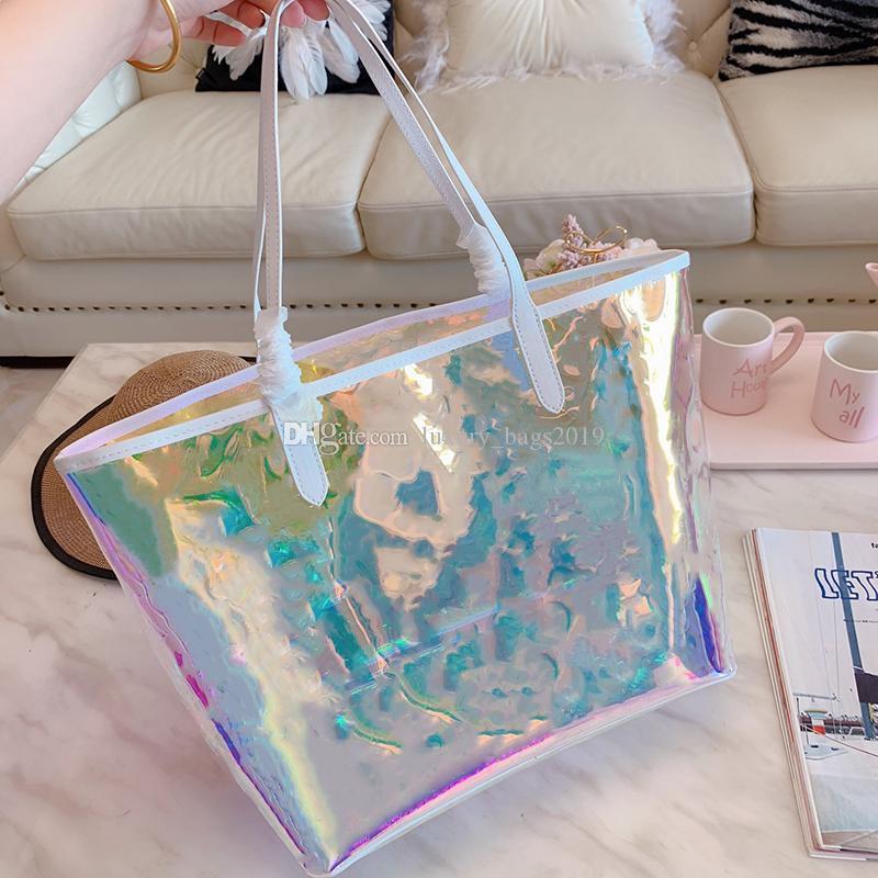 Os mais recentes relevo clássico PVC Saco da praia sacola transparente geléia packback grande laser de capacidade saco de compras bolsa bolsas femininas