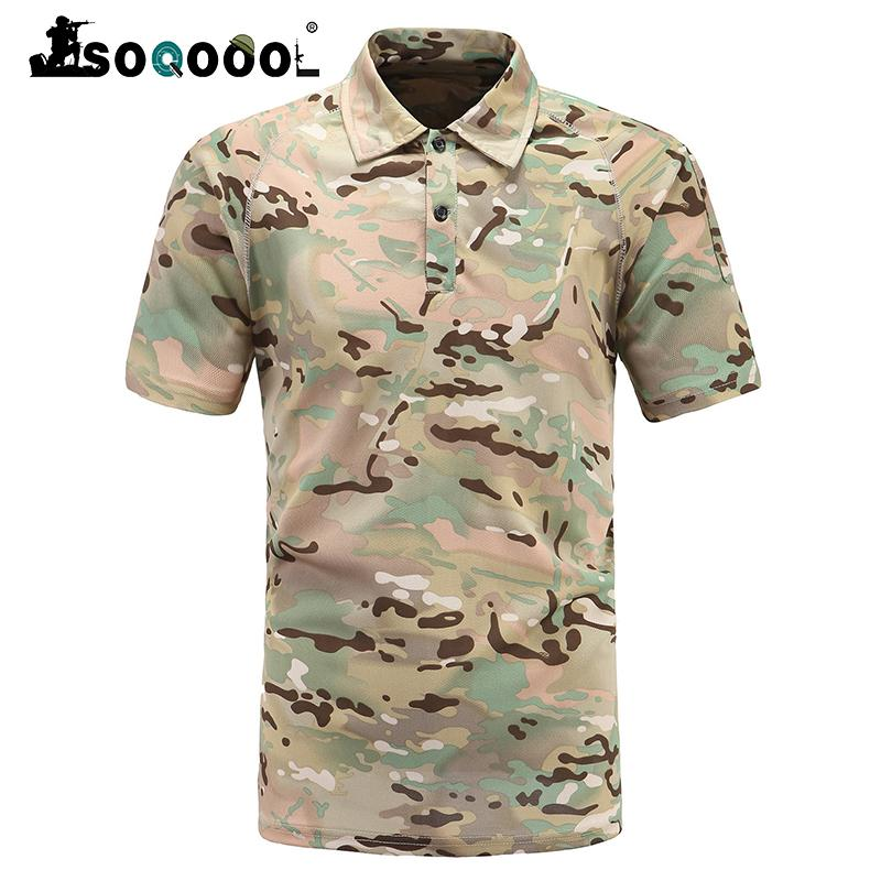 Soqoool Summer Tactical Army Camouflage T Shirt Men Camo Paintball T-shirt Breathable Short Soldier Combat TShirts