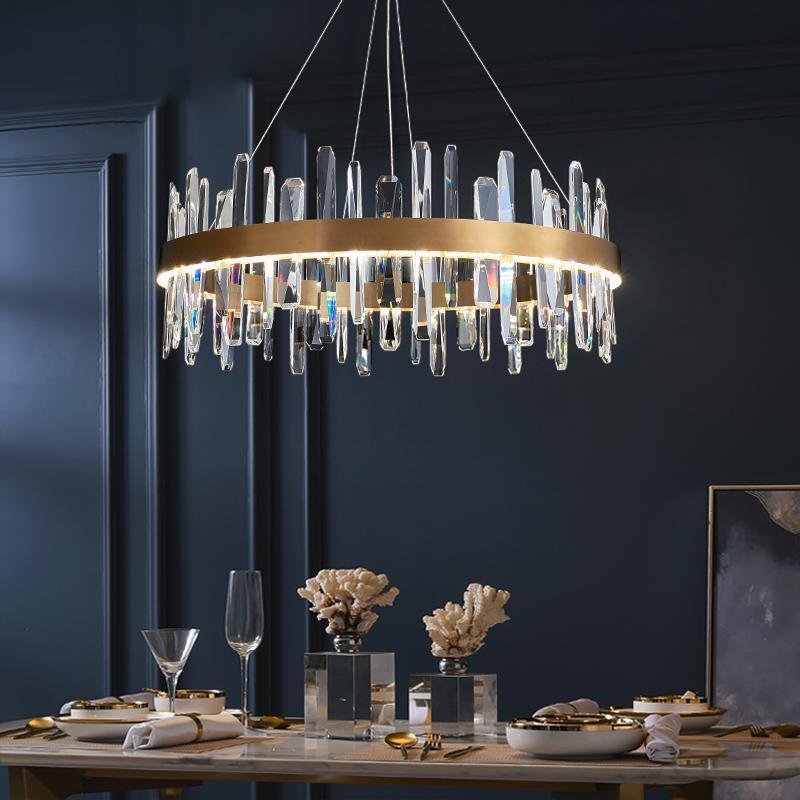 Modern luxury gold crystal chandelier lighting for living room lustre moderne led chandeliers in the hall lustre de cristal