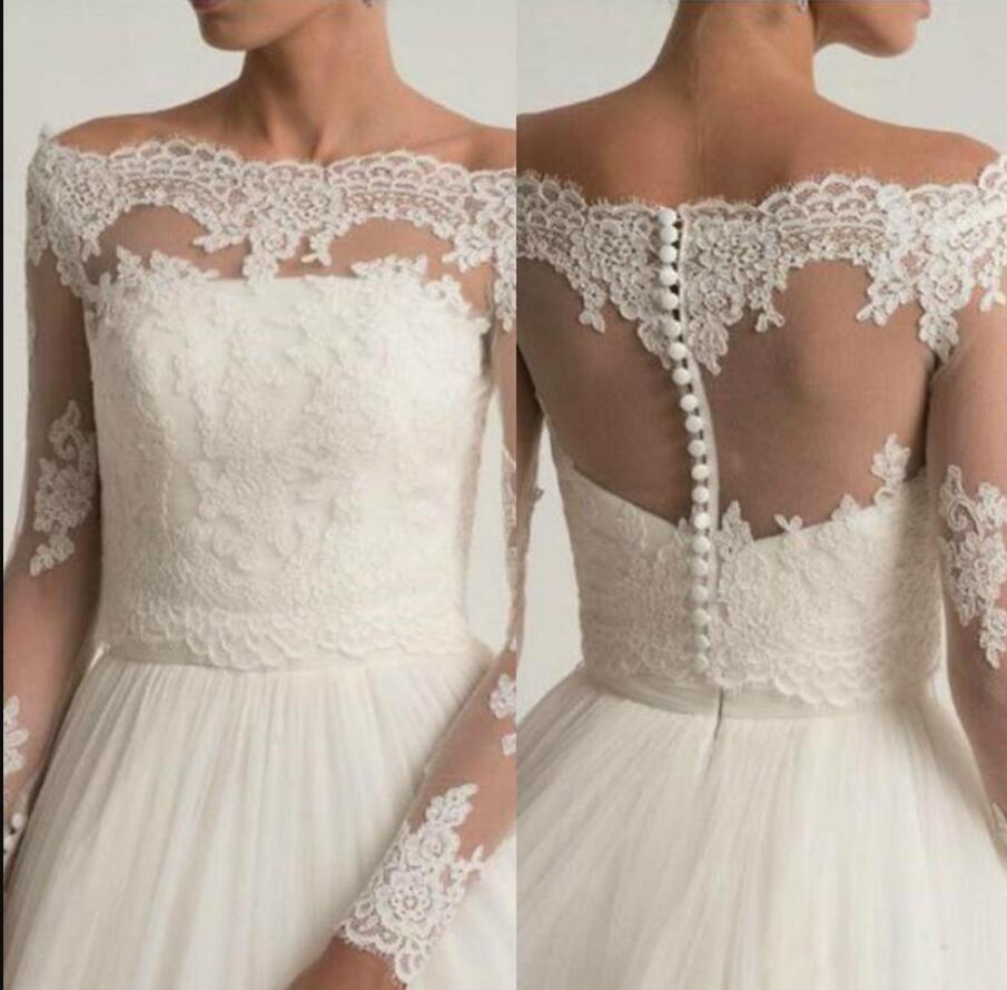 Elfenbein weg von der Schulter Hochzeits-Jacken SpitzeAppliques Braut Boleros Wickeltop Langarm Customized Brautjacke