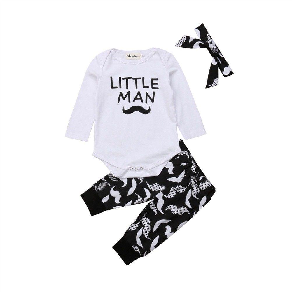 Pudcoco 3PCS recém-nascido da criança Roupa do bebé Macacão Bodysuit Calças Headband Outfits Set
