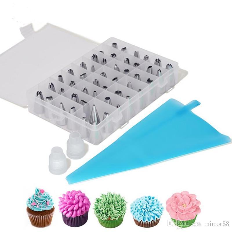Украшение десертной глазурью силиконовые стальные трубопроводные кремовые инструменты набор из нержавеющих декораторы DIY сумка + 48 форсунок торт 51 шт. / Установите Custry dehcc