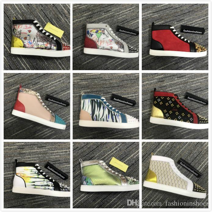 new fashion Junior Spikes Orlato Sneaker uomo fondo piatto in pelle scamosciata rossa con borchie scarpe con suola rossa uomo gz sneaker rivetti cc taglia 35-47