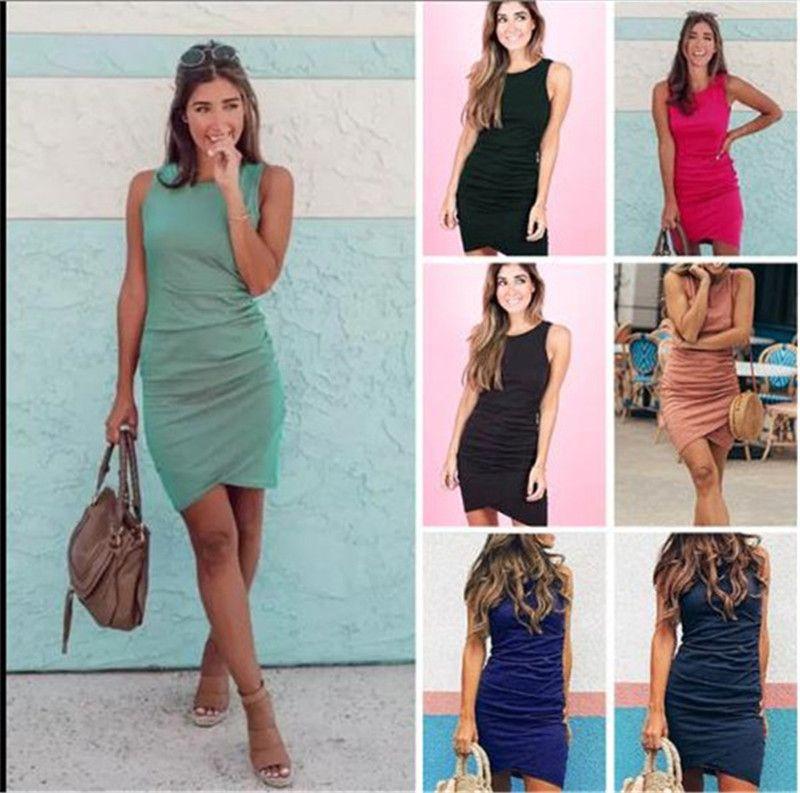 Irregular Sleeveless Womens Bodycon Dresses Skinny Sexy Solid Color Womens Designer Dresses Crew Neck Pleated Summer Mini Dresses