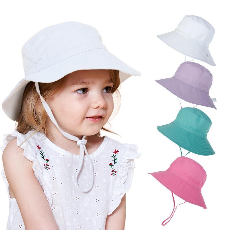 16 الألوان 2020 طفل في الهواء الطلق الصيف الصيادين قبعة أطفال الأطفال شاطئ أحد قبعات جميلة الرباط الأميرة طفلة واقية من الشمس قبعة M2184