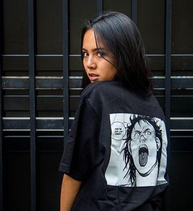 Мужская футболка Akira инъекцией Comic футболках 19ss Summer Tee Женская футболка хип-хоп мультфильм хлопок Короткие рукава рубашки унисекс