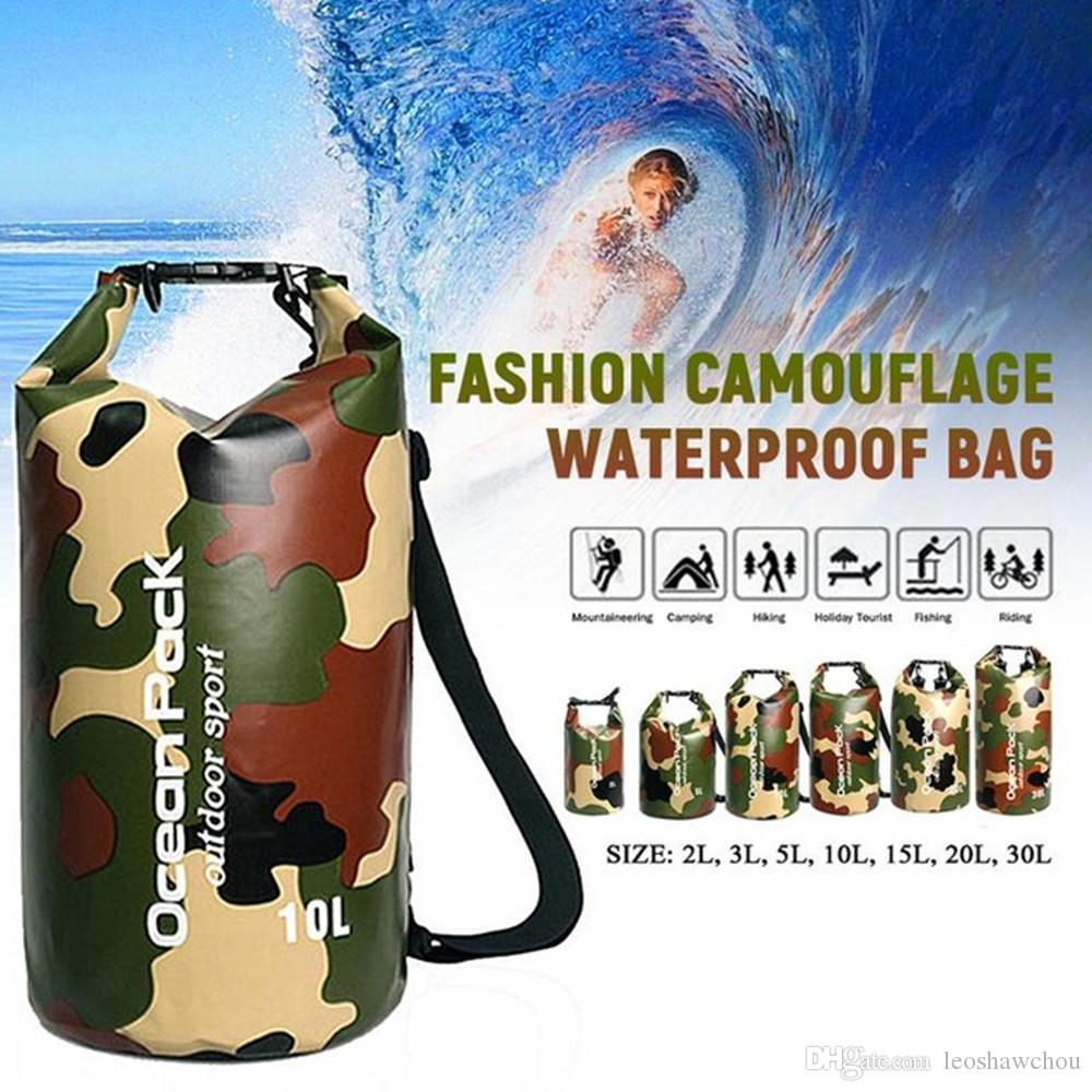 2L-30L Waterproof Dry Bag Portable Outdoor PVC Bag Fashion Camouflage Sports Backpack for Floating Boating Kayaking Hiking Storage