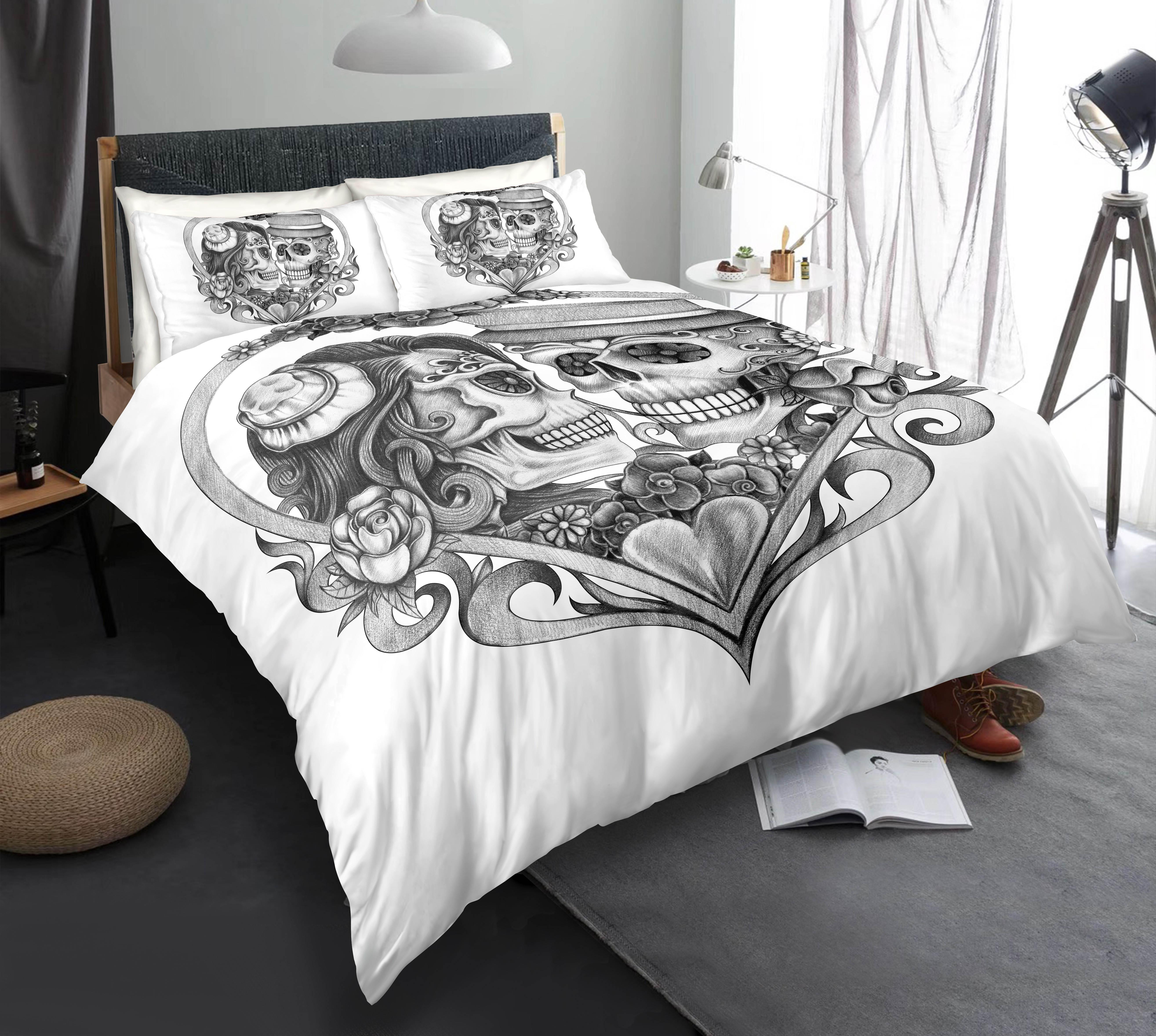 Black and White Skull Bedding Set King Size Love Scary 3D Duvet Cover Queen Home Dec Single Double Bed Set With Pillowcase 3pcs