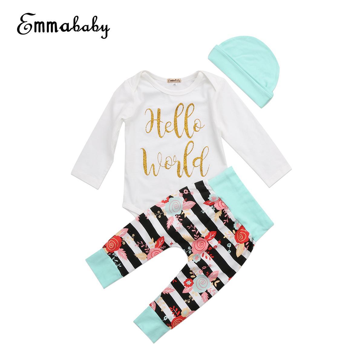 3PCS Recém-nascido Bebé Meninas Calças Roupa Set manga comprida de algodão Romper longo florais Hat Início Outfits Crianças Girl Clothes 0-24M