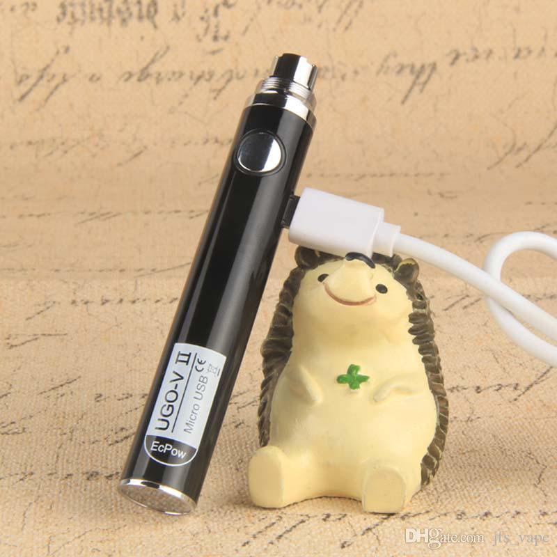 1Pcs Authentic UGO V2 II kit vape 510 Thread Battery EVOD eGo Micro USB Passthrough 650mAh 900mAh Vaporizer Fit MT3 CE4 H2 Atomizer