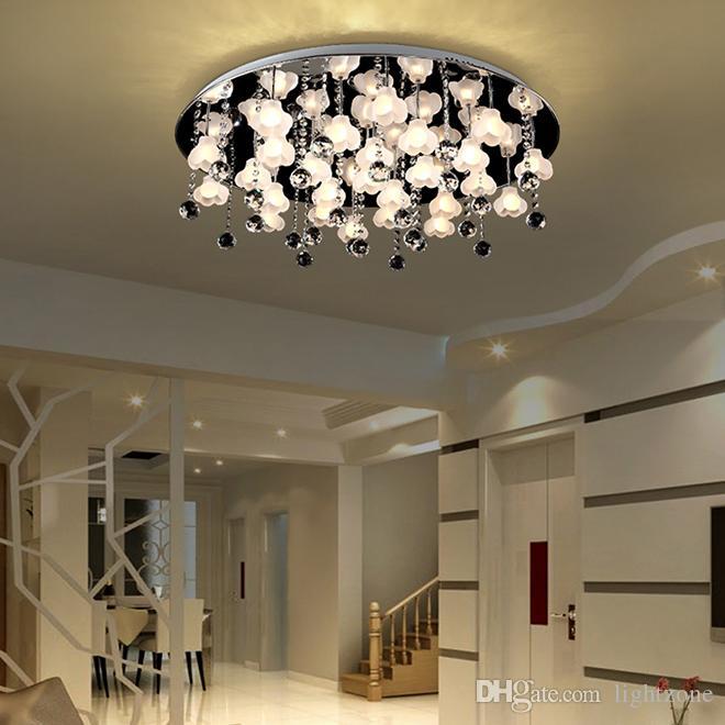 Nuovo design di lusso contempoary creativo fiore lampadario di cristallo luci led cromo moderne lampade a soffitto per cerchio salotto camera da letto disimpegno