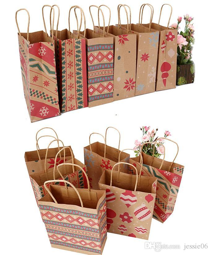 Christmas Kraft Paper Printed Gift Bags Handbag XMAS Presents Favors Toys Clothes Wrap Totes Shopping Carrier Bag Packaging colorful