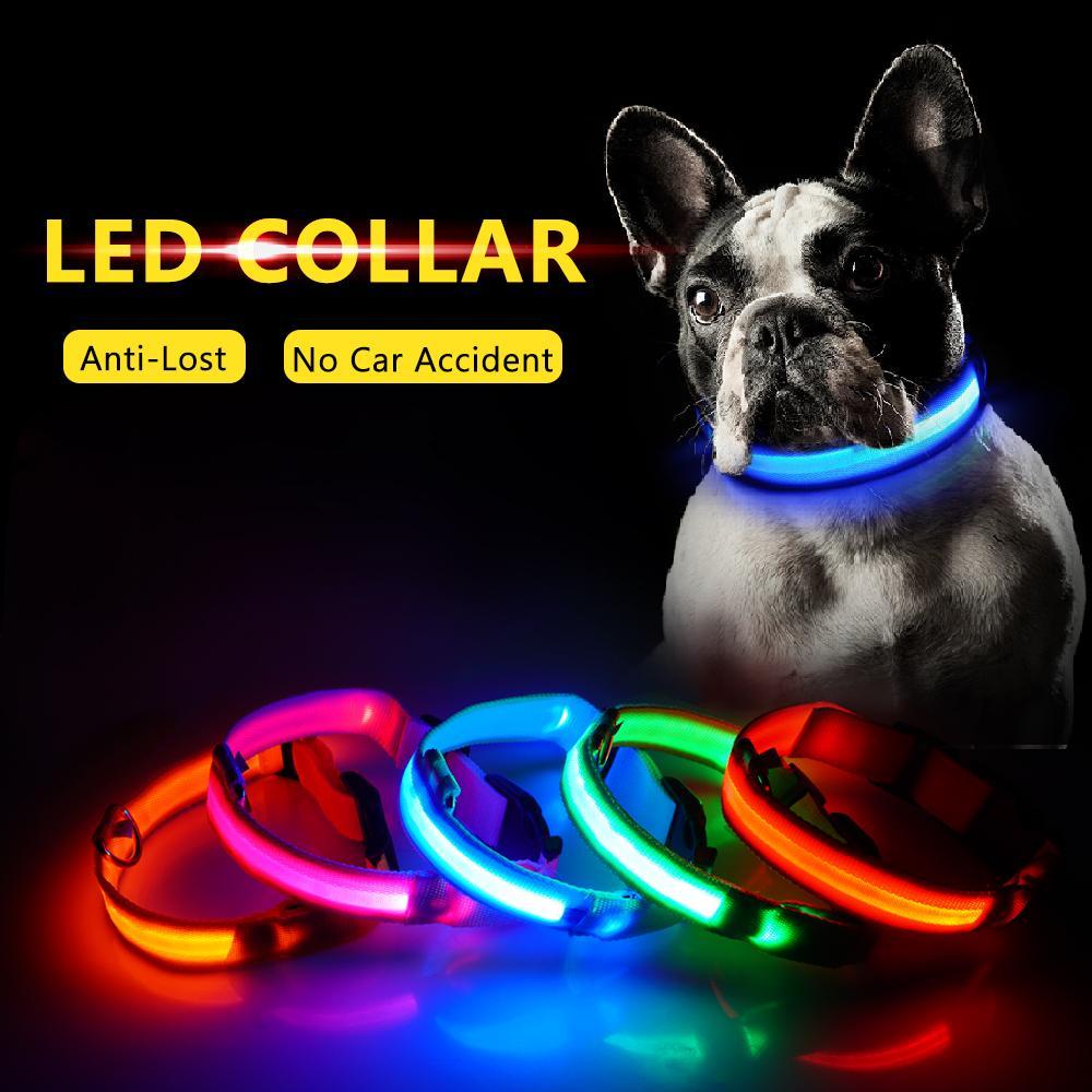 LED نايلون كلب طوق السلامة ليلة LED تضيء اللمعان الوهج في الظلام كلب صغير الكلب المقود الحيوانات الأليفة الياقة اللمعان السلامة