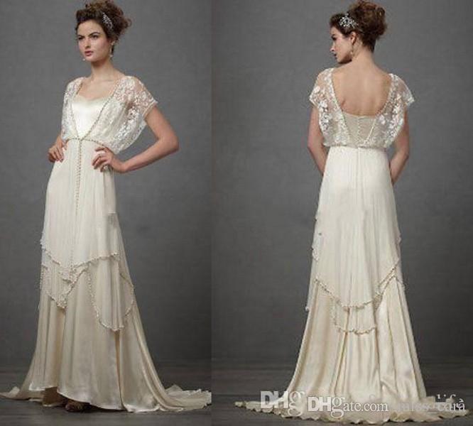 Vintage 1920s Wedding Dresses with Sleeves Catherine Deane Lita Modest Fairy Lace V-neck Full Length Plus Size Bridal Gowns robes de mariée