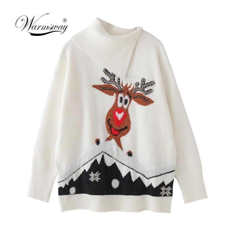 Осень-зима Новое прибытие плюс размер женщин пуловеры Elk мультфильм Рождество Свитера полуоткрытый Водолазка Split Вязаная Jumper C-144