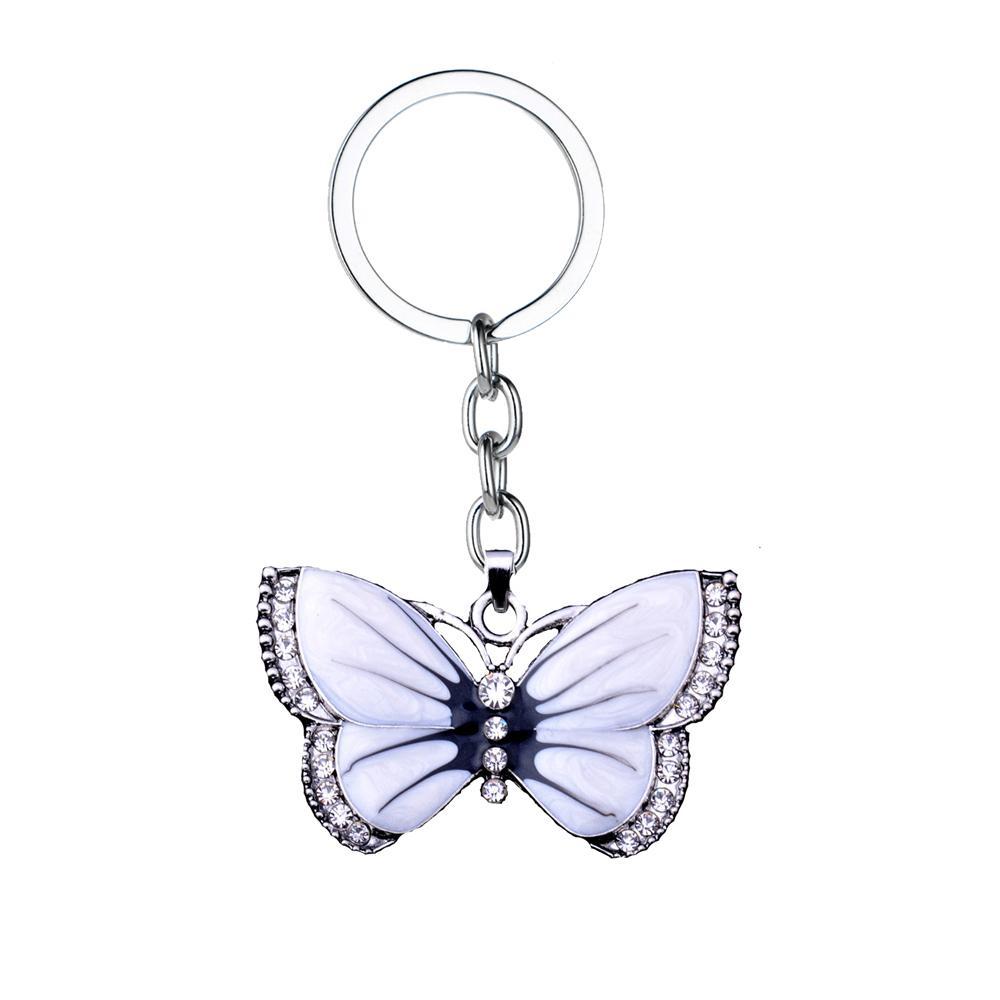 36PC portachiavi farfalla animali farfalla bianca cristallo strass ciondolo portachiavi ciondolo donne uomini migliori amici regali gioielli