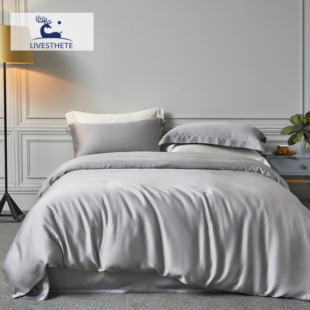 Liv-Esthete 100% Natural Silk Noble Gray Bedding Set Duvet Cover Flat Sheet Home Decor Luxury Double Queen King Bed Linen Set T200415