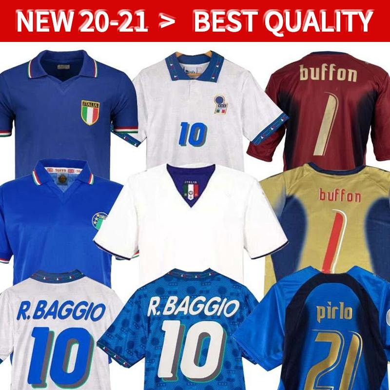 Italien Retro Fussball Jerseys 1990 2000 Fußball Hemd 1994 Jersey Maldini Baggio Donadoni Schillaci Totti del Piero 2006 Pirlo Inzaghi Buffon