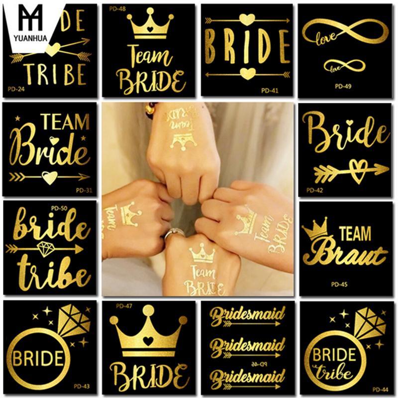 Vente en gros éclair métallisé tatouage temporaire d'or de l'équipe Bride Décoration imperméable Mariage Bijoux Inspirée Henna Tattoo Sticker Body Art