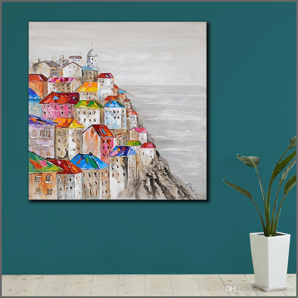 Großhandel 1 Panel Große Abstrakte Malerei Moderne Griechische Ägäis  Landschaft Leinwanddruck Wandbilder Für Wohnzimmer Kein Rahmen Von  Weichenart, ...