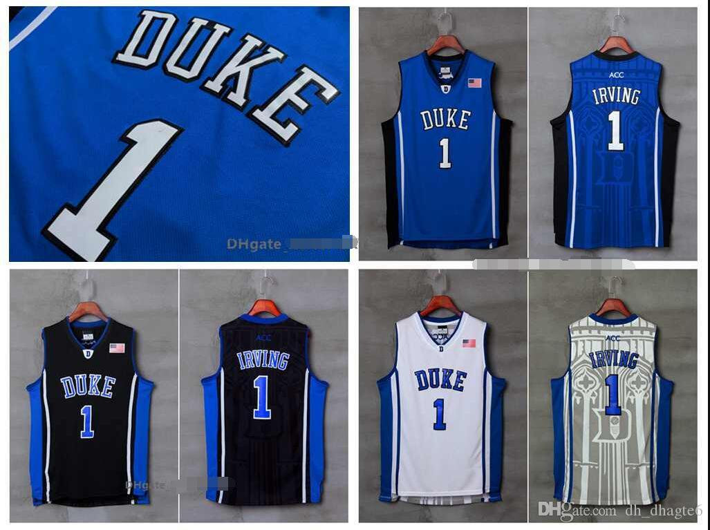 NCAA Duke College 1 Irving White, Black And Blue Embroidered Basketball Swingman Jerseys And T-Shirt