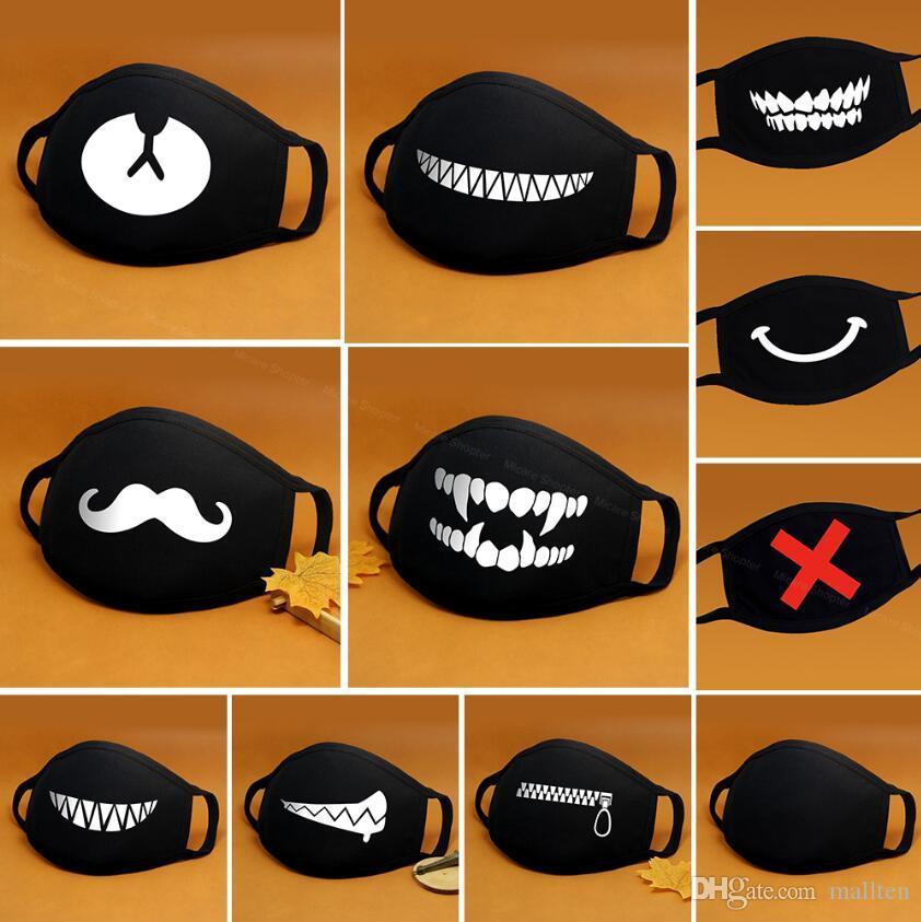 Máscara Facial de algodão dos desenhos animados Boca Preto Anti-Poeira Anti Poluição Respirador Máscara Máscaras Moda Kpop Urso bonito animal cara Boca