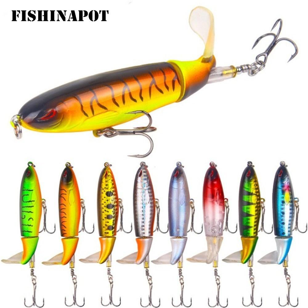 Whopper Popper 9cm 13g Topwater Fishing Lure Artificiale Hard Bait 3d Eyes Plopper Soft Rotating Tail Fishing Tackle