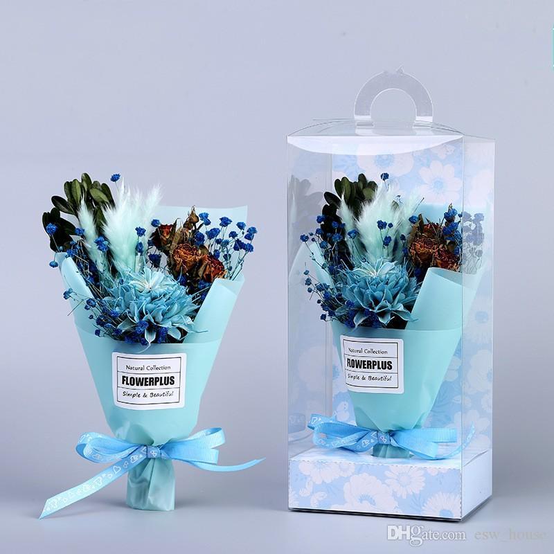 عيد الأم المجففة زهرة باقة مربع الاصطناعي الزهور المجففة باقة عيد الأم ميني باقة PVC مربع هدية