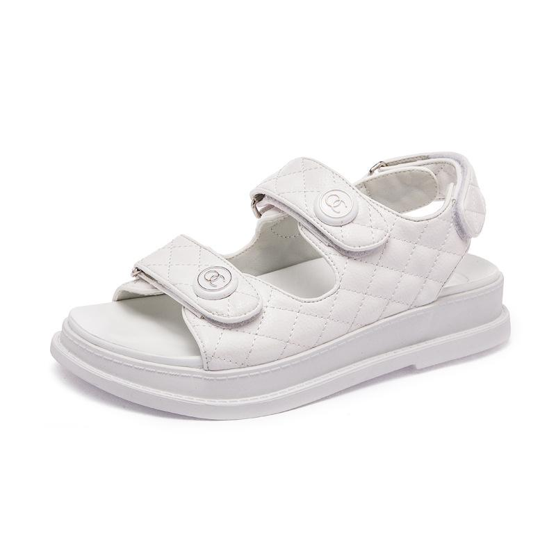 Eofk Kadınlar Sandalet El Yapımı Dokuma Düz Ayakkabı Kadın 2020 Yaz Moda Nefes Casual Renkli Kadın ayakkabı Kayma-On C16 # 265