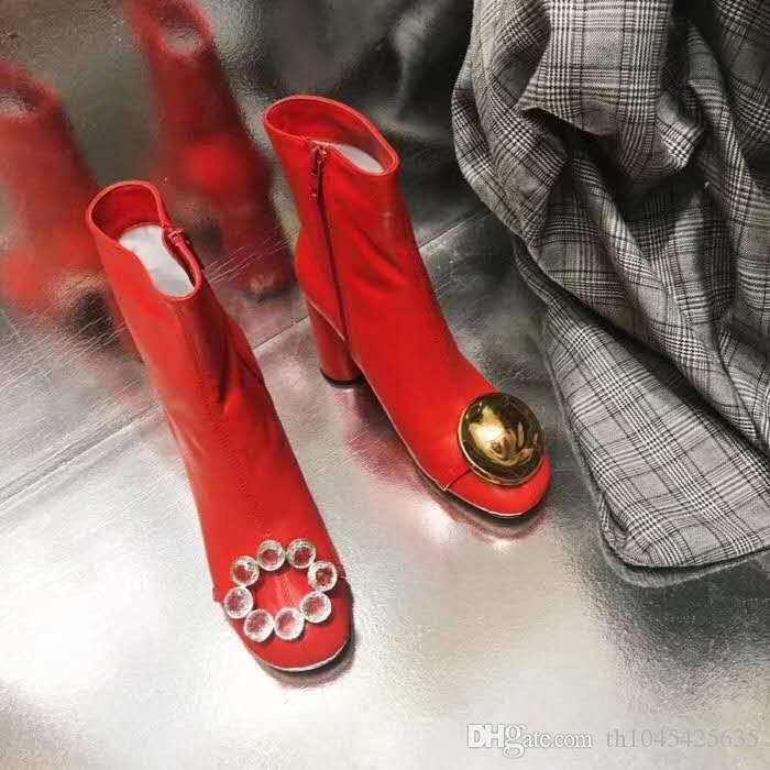 Rouge Blanc Femmes Bottes De Mariage Chaussures Habillées Automne Hiver Mode Cuir Piste Martin Bottines Chaussures Chunky Femme Chevalier Bottes